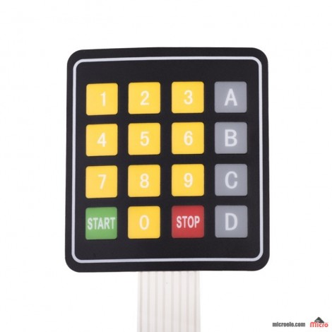 کی پد مسطح 4x4 - اعداد زرد - ABCD