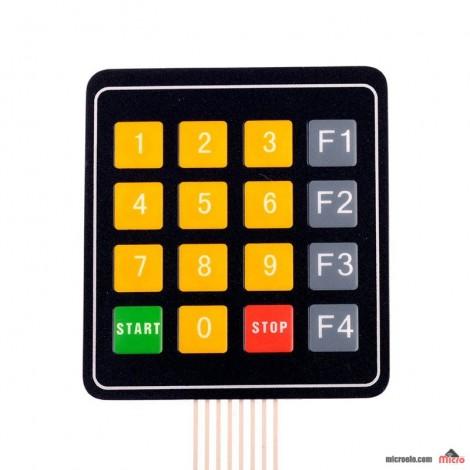 کی پد مسطح 4X4 - اعداد زرد - Function Key